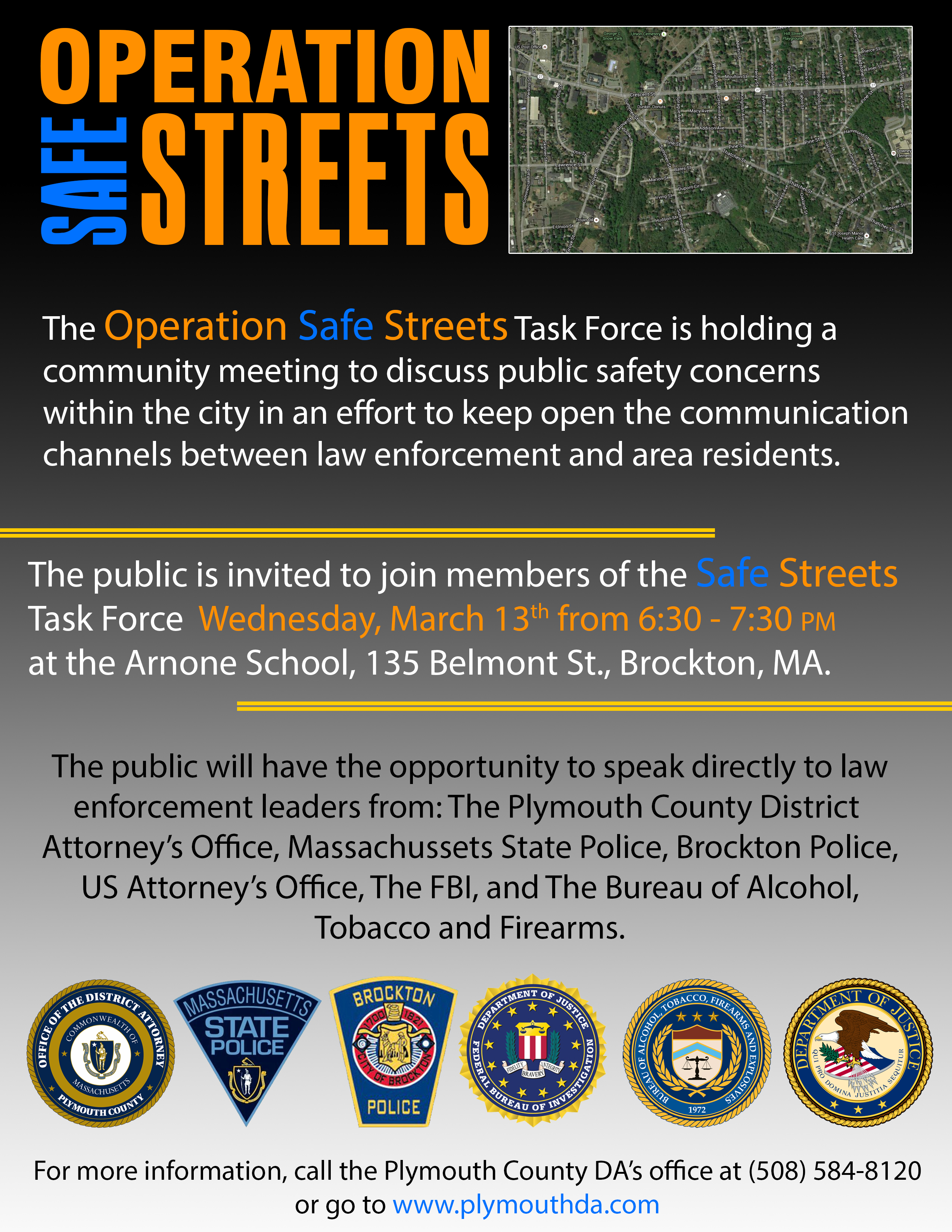Operation Safe Streets meeting flyer March 13, 2019